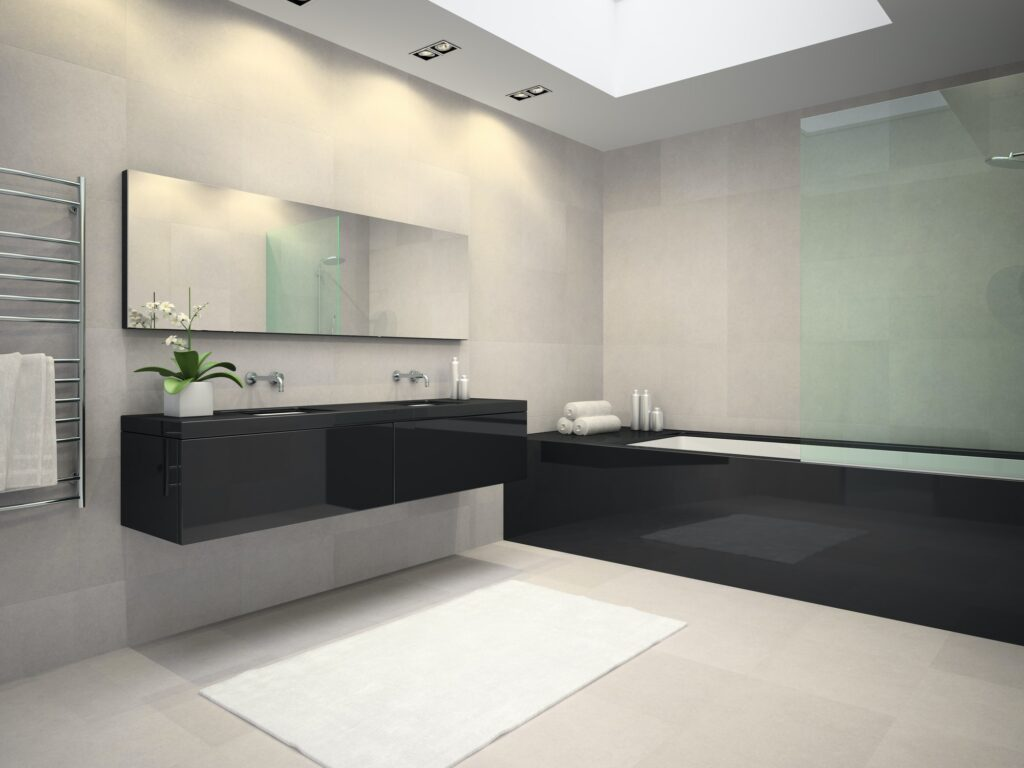 Interior of bathroom with ceiling window 3D rendering 3